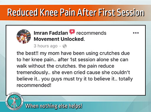 Reduced Knee Pain After First Session